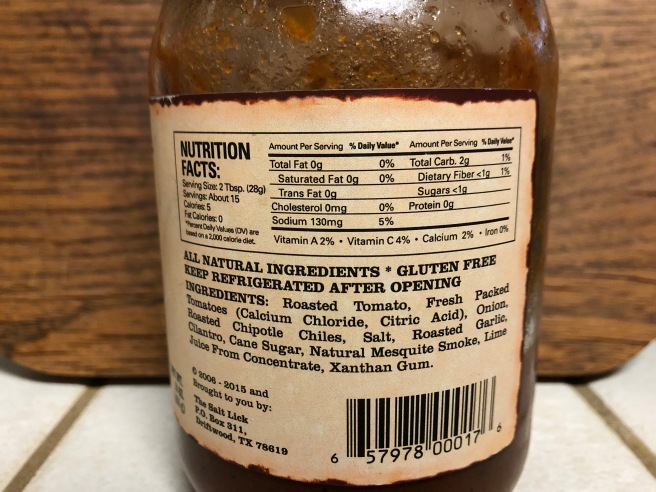 Salt Lick Mesquite Salsa nutrition facts