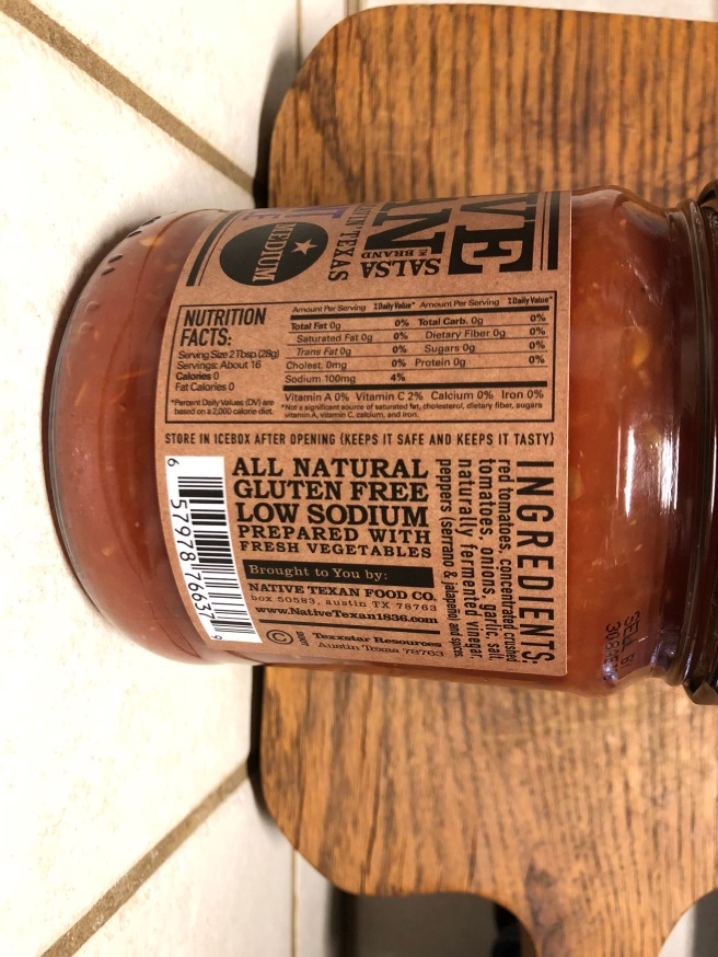 Native Texan Salsa nutrition facts